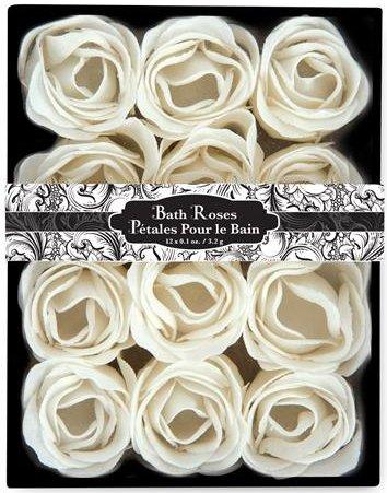 Floral Scented Bath Soap Rose Flower Petals, White, 12 Count