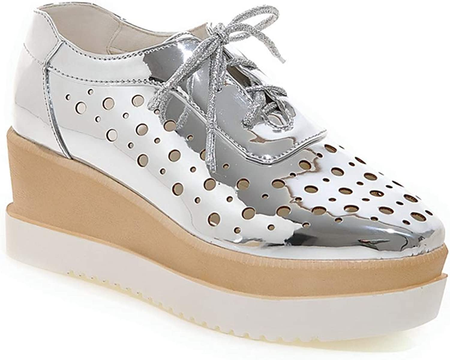 GIY Women's Square Toe Glitter Platform Wedge Oxford shoes Wingtip Lace Up Chunky High Heel Dress shoes
