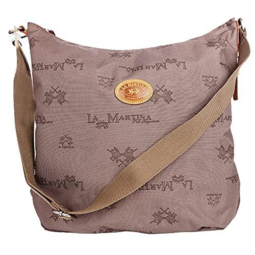 La Martina Tasche Canvas Damen Groß, Vintage Damen Herren Umhängetasche Schultertasche, 43 x 40 x 15cm, Dark Brown