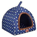 L.TSA Cama para Mascotas Caseta para Perros Invierno Mantener abrigado Lavable 4 Estaciones Caseta para Perros Caseta para Perros de Interior Estrellas Azules 4 Tamaño Opcional (Tamaño: XXL)