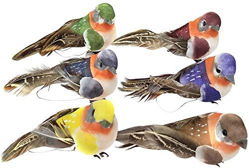 SHANGHh 6 Pieces Colourful Bird Clip Artificial Birds Bubble Bird DIY Crafts Garden Bird fit for Christmas Tree Ornament Home Party Decors