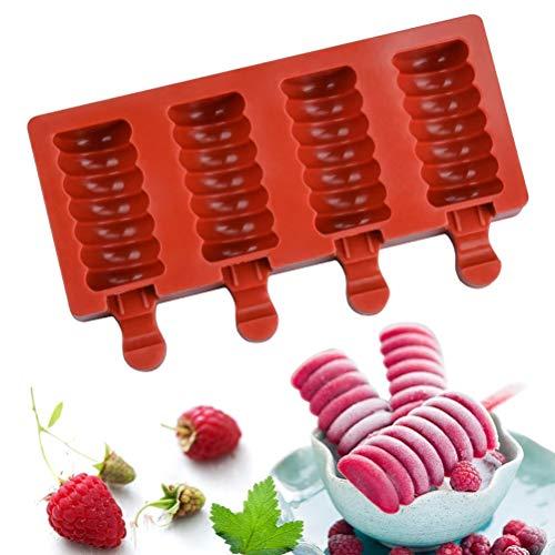 Hosuho - Molde para helado, 1 pieza de 4 cavidades de silicona para helado, molde para paletas caseras