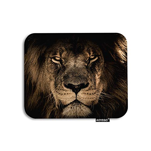 AOYEGO Lion Mouse Pad Wild King of Animals Lion Head Cruel Eyes Brown Feathers Gaming Mousepad Rubber Large Pad Non-Slip for Computer Laptop Office Work Desk 9.5x7.9 Inch