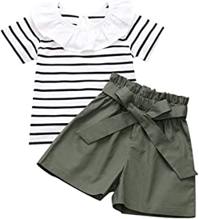 Weixinbuy Baby Girls Cotton Ruffled Collar Striped Short-Sleeved T-Shirt Tops Solid Color Shorts Clothes Set
