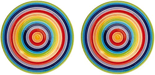 Rainbow Striped Ceramic Dinner Plate (Large) 26 cm (2 Plates)