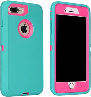 Annymall Case Compatible with iPhone 8 Plus/iPhone 7 Plus, [Heavy Duty] Built-in Screen Protector Tough 4 in1 Rugged Shorkproof Cover for Apple iPhone 7 Plus & iPhone 8 Plus (Mint/Rose)