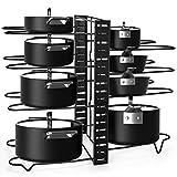 Alliebe Organizador de 8 niveles para ollas y sartenes con 3 métodos de bricolaje