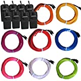 TDLTEK 8 Pack Neon Glowing Strobing Electroluminescent Wire/El Wire(Blue, Green, Red, White, Pink, Purple,Orange, Yellow) + 3 Modes Battery Controllers