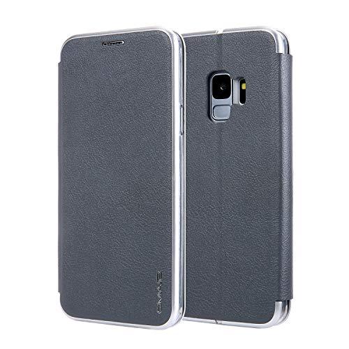 SGJFZD Caja Galaxy S9, Caja de la Cartera de Cuero de PU de PU de Color sólido con Titular de la Tarjeta de la Caja de la Caja Protectora de Samsung Galaxy S9 (Color : Gray)