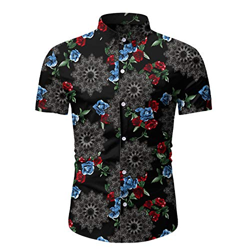 Camisa de Cuello Vuelto para Hombre, Estampado Floral Retro, Ajuste Regular, Transpirable, Informal, de Playa de Hawaii, Camisa de Manga Corta Medium