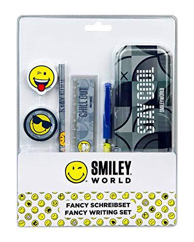 Undercover SMIL6457 Schreibset Serie Smiley, mit Bleistiftbox, Bleistift, Radierer, Spitzerdose, Lineal und Gelstift, 6 teilig