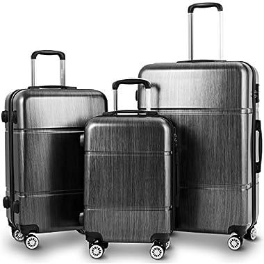 Goplus Luggage 3PC Set Lightweight Hardshell Travel Trolley Expandable Suitcase w/TSA Lock (Black)