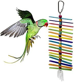 Parrot Toy - Colorful Wooden Parrot Toys Bite Hanging Cage Wheel String Cockatiel S - Shredder