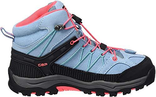 CMP Rigel, Chaussures de Randonnée Hautes Mixte Enfant, Turquoise (Clorophilla-Red Fluo), 36 EU