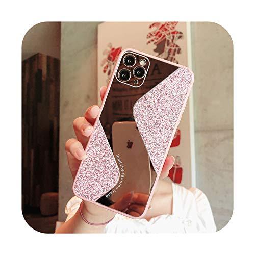 Moda lujo espejo brillo teléfono caso para iPhone 11 12 Pro Max XS X XR 7 8 6 6S Plus SE 2020 mini fundas a prueba de golpes cubierta - rosa para iPhone Xs Max