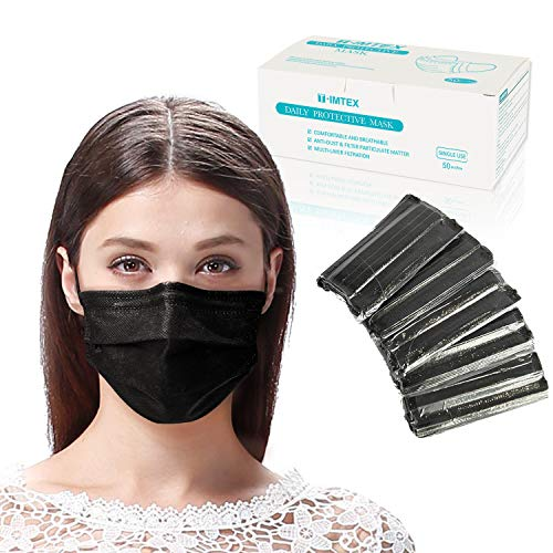 Disposable 3 Ply Face Mask with Elastic Ear loops, Breathable and Comfortable Protective Masks with Melt-Blown Fabric for Filtering the Particulate Matter in the Air Pollution (Black)