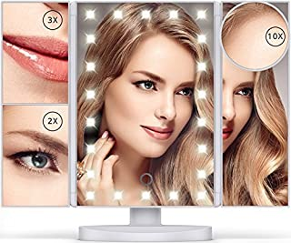 Lighted Makeup Mirror with 22 LEDs - Vanity Mirror with Lights - 10X/3X/2X Magnification and Touch Screen - 180 Degree Rotation - Cosmetic Make Up Trifold Table Light Up Mirrors for Travel (White)