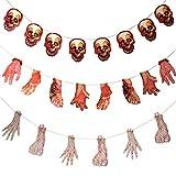 Halloween Guirnalda Herramientas,34pcs Guirnalda Cuchillos Sangrientos,22pcs Bloody Hands And Feet,Horror Hanging Banner Para Adornar Casa Habitación y Patio Fiesta