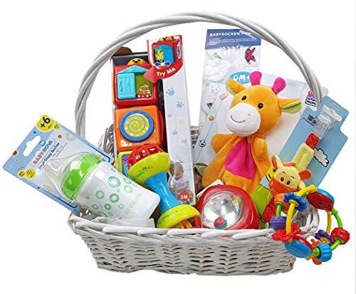 Geschenkkorb Welcome Baby Geschenk Unisex zur Geburt oder Taufe (Groß)