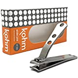 Kohm CP-140L Nail Clippers for Thick Nails, Wide Jaw, Curved Blade – Sharp, Heavy Duty, Large Stainless Steel Toenail Clippers for Thick Toenails for Men, Seniors, Adults with Built-In Nail File