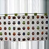 DQAW Visillo opaco, cortina de cocina, diseño de búho, cortina para habitación infantil, estilo rústico, corto, de algodón y lino