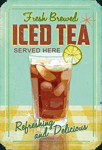NWFS FS Reklame Fresh Brewed Iced Tea metalen bord bord metalen plaat plaat Metal Tin Sign gewelfd gelakt 20 x 30 cm
