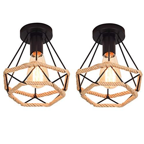 2x Techo de Metal de Reequipamiento lámpara de techo con cuerda de cáñamo Industrial lámpara,Lámpara de Techo Colgante de Estilo Vintage forma de diamante diámetro 20CM