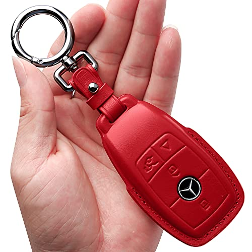 Tukellen for Mercedes Benz Key fob Cover Genuine Leather with Keychain,Leather Key case Compatible Mercedes Benz 2017-2021 E-Class 2018-2021 S-Class 2019-2021 A-Class C-Class G-Class-Bright Red