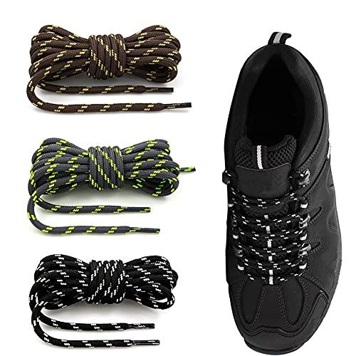 QCHMM 3 Pares Cordones Redondos de Bota Montaña Zapatos Senderismo 4mm Patin Multicolores Rayas Resistente y Fuerte Unisex - Cordones Redondos Para Zapatos, Zapatillas de Deporte y Botas