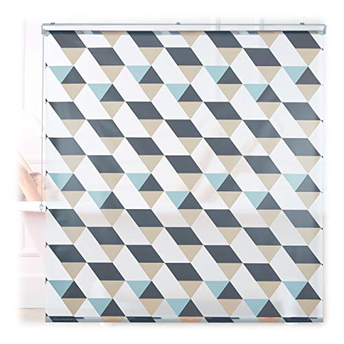 Relaxdays Duschrollo, 160x240 cm, Dreieck Muster, Seilzug, Flexible Montage, Duschvorhang für Badewanne & Fenster, bunt