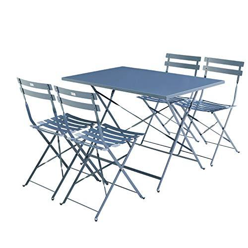 Muebles de jardín bistró Plegable Emilia - Rectangular Azul Gris - Mesa...