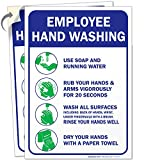 Employees Hand Washing Sign, (2 Pack) 10x7 4 Mil Sleek Vinyl Decal Stickers, Weather Resistant Long Lasting UV Protected and Waterproof Made in USA by Sigo Signs
