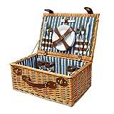 GQW Picknickkorb-Set für 4 Personen, großes Weidenkorb-Set mit spülmaschinenfesten Tellern, Weingläsern, Besteckset, klassisch braun, für Picknick.