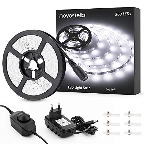 Novostella Tira LED Luces 6M, Tira LED Kit Intensidad Regulable Blanco Frío 6000K, 12V 1800LM 360 Leds Con Adaptador y Adhesivo, Tiras LED Iluminación Interior para Gabinete, Armario, Habitación