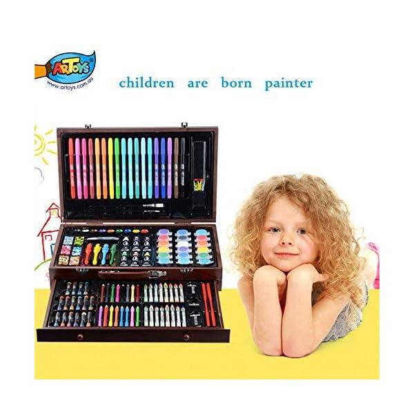 ARTOYS Set de Pintura Niños,123 Piezas Caja de Madera con Set artístico,lápices de Colores,Ceras Colorear,Acuarelas,Regalos Niños para Navidad,Año Nuevo,Cumpleaños,Set Dibujo Artista Estuche de Dibujo