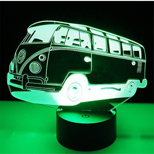 Lampe d'illusion de lumière de nuit de 3D, voiture colorée d'autobus d'autobus avec la lumière de 7 couleurs pour Home Decorat, lampe visuelle