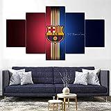 65Tdfc - Etiqueta De La Pared 5 Panel - Balón De Fútbol De Barcelona - Canvas Pintura De Árboles HD Largepaandscape Wall Art Home Living Room Decor