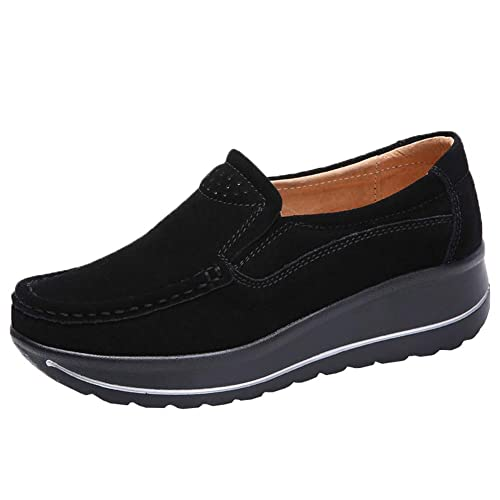 a2d35702b1e STQ Women Comfort Platform Loafers Slip On Wedge Suede Shoes Wide Moccasins  Work Sneakers