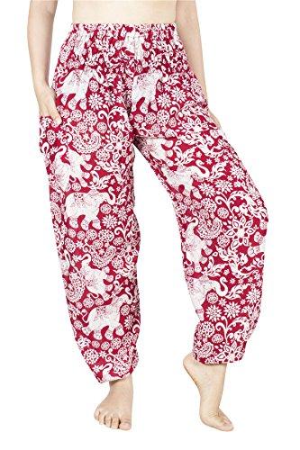 Lofbaz Mujer Pantalones Harem con Cintura Calada de Rayon Smoked Flowy Hippie - Elephant 4 Rojo - S