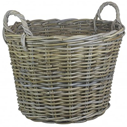 Wicker Warehouse Round Grey Kubu Rattan Log Basket