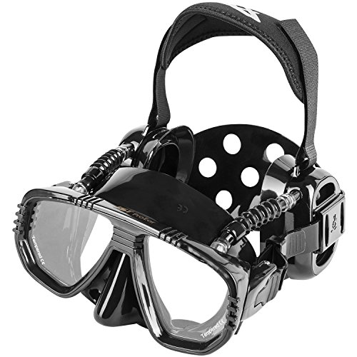 Pro Ear Scuba Diving Mask for all around Ear Protection - All Black Scuba Div...