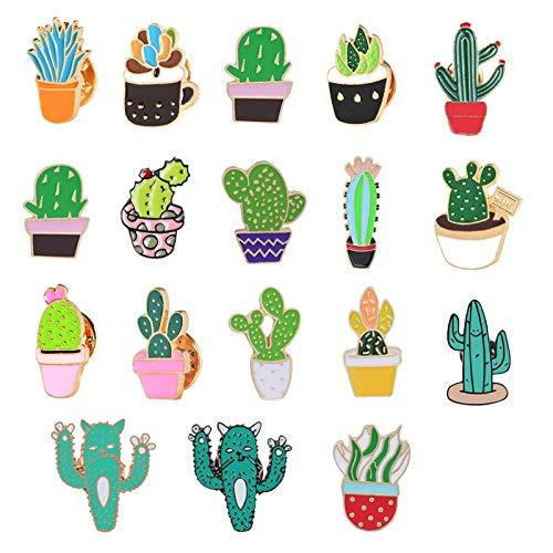 ZSCZQ Kpop Broche Cartoon Pflanze Brosche Niedlich Mini Kaktus Topf Feigenkaktus Emaille Pins Jacken Revers Pin Bag Symbol Abzeichen Frauen Schmuck LightPink