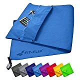 Fit-Flip fitness towel set with zipper compartment + magnetic clip + extra sports towel | patent-pending multifunctional towel, microfiber towel (blue)