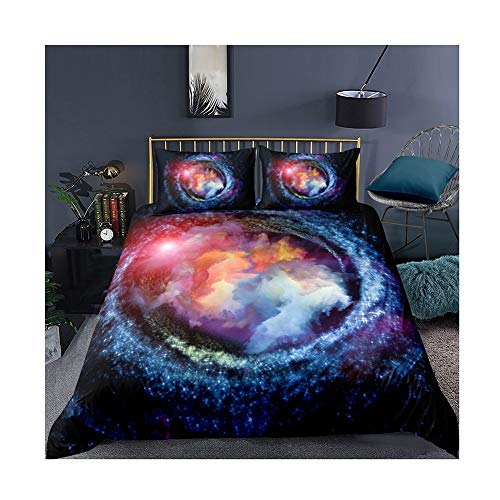 UNILIFE 3D Galaxy Universe Duvet Cover 3 Pieces Space Starry Sky Bedding Set with Pillowcase Single Double Duvet Cover Set