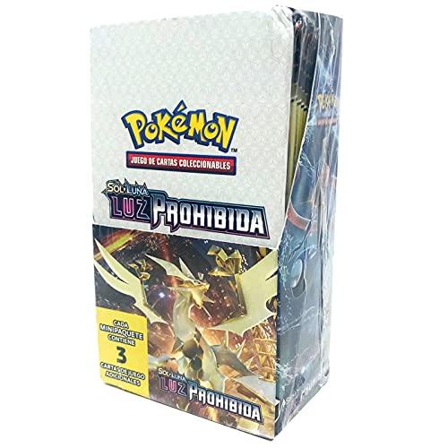 Cartas Pokémon Sol y Luna Luz Prohibida Caja de 24 Sobres, Juego de Cartas Coleccionables Pokémon Serie Sol y Luna Luz Prohibida, Cartas Pokémon en Castellano (Cada sobre Contiene 3 Cartas)