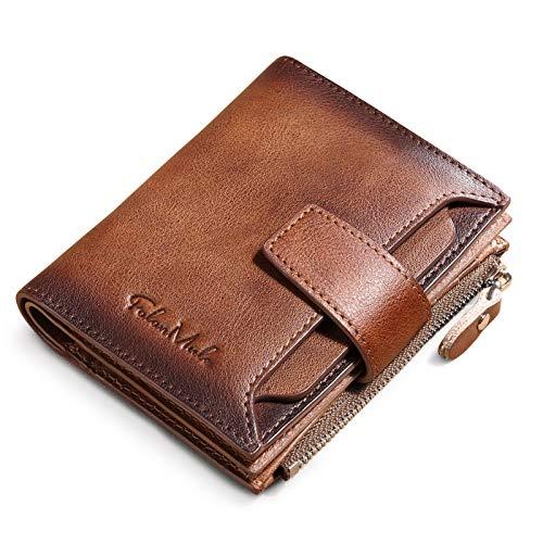 BAIGIO Herren Geldbörse Leder Männer Geldbeutel Vintage Brieftasche Portemonnaie (Braun)