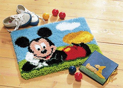 Vervaco Knüpfteppich Mickey Mouse Knüpfpackung zum Selbstknüpfen eines Teppichs, Stramin, weiß, 45 x 35 x 0,3 cm