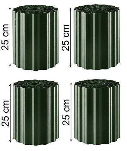EXCOLO 36m Rasenkante Grün/Tannengrün 25 cm hoch Gartenpalisade Beetumrandung Palisaden Rasenborde