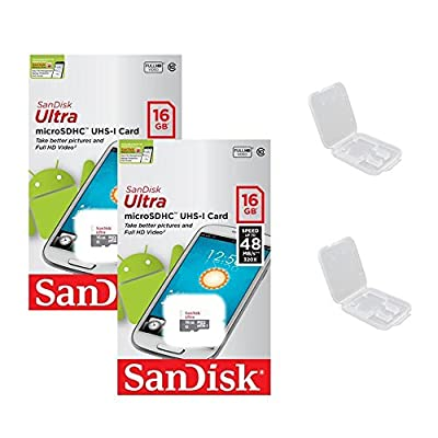 2 PACK - SanDisk Ultra 16GB MicroSDHC Memory Flash Card UHS-I Class 10 Micro SD SDHC Read Speed up to 48MB/s 320X SDSQUNB-016G-GN3MNA Wholesale Lot + ( 2 Cases )