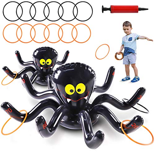 Max Fun Halloween Inflatable Spiders Ring Toss Game Set Pack of 2 for Kids Carnival School Party Favor Supplies Holiday Decoration Novelty Toy Outdoor Indoor Spooky Creepy Game